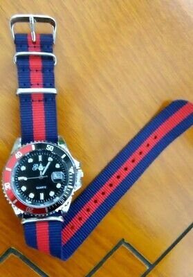 £11.75 • Buy Submariner Diver Homage Watch, Pepsi  Colour, Red And Blue Nylon Strap🇬🇧
