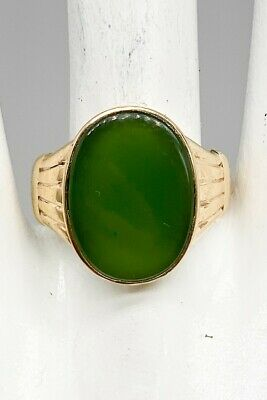 £532.39 • Buy Antique Victorian 1890s $3000 12ct Natural Green Jade 10k Yellow Gold Mens Ring