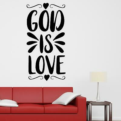£16.90 • Buy God Is Love Wall Sticker Decal  Quote Christian Bible Jesus Religious Décor