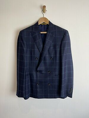 £195 • Buy Canali Kei Navy Check Blazer Double Breasted Jacket Uk 40R Cashmere Lana