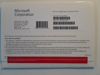 $ CDN49.99 • Buy Microsoft FQC-08929 Windows 10 Professional OS 64bit Eng License Key + DVD NEW