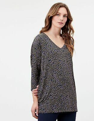 £9.56 • Buy Joules Womens Leia Print V Neck Viscose Top - Green Leopard