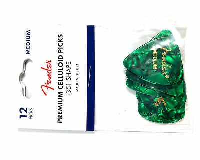 $ CDN10.74 • Buy Fender Guitar Picks 12 Pack Celluloid Medium Green Pearloid (Moto)