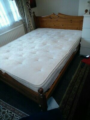 £150 • Buy Pine King Size Solid Wood Bed With   Relyon Raithmere  Medium  Mattress.