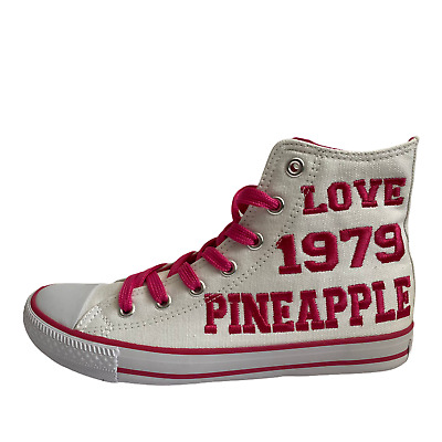 £9.95 • Buy Ladies Canvas Pumps White Pineapple Lace Up Hi Top Trainers Shoes Size UK 4