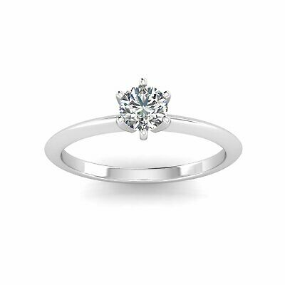 $599.95 • Buy 1/2 Carat TW Diamond Solitaire Engagement Ring In 14k White Gold (H-I2)
