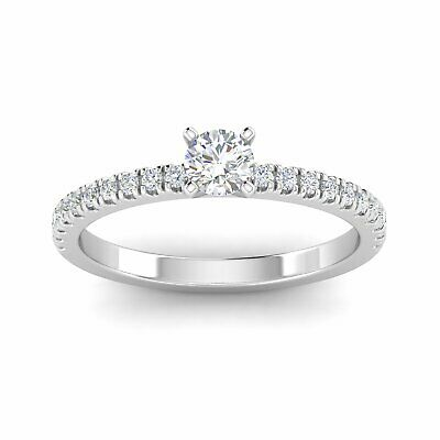 $459.95 • Buy 1/2 Carat TW Natural Round Diamond Engagement Rings In 10k White Gold (H-I,