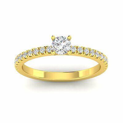 $459.95 • Buy 1/2 Carat TW Natural Round Diamond Engagement Rings In 10k Yellow Gold (H-I,
