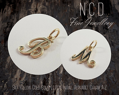 AU79 • Buy NC Designs NEW Genuine 9kt Yellow Gold Solid Letter, Initial, Alphabet Charm A-Z