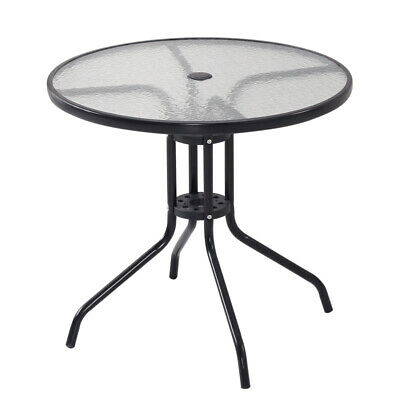 £89.95 • Buy 4 Seater Round Picnic Glass Table With Parasol Hole Pub Club Home Garden Outdoor