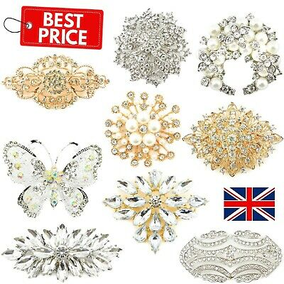 £3.05 • Buy Large Diamante Crystal Pin Brooch Vintage Antique Modern Silver Gold Lot Bouquet