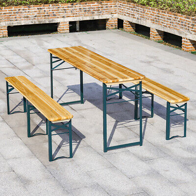 £169.95 • Buy Wooden Beer Table Bench Foldable BBQ Picnic Camping Pub Bistro Dining Chairs Set