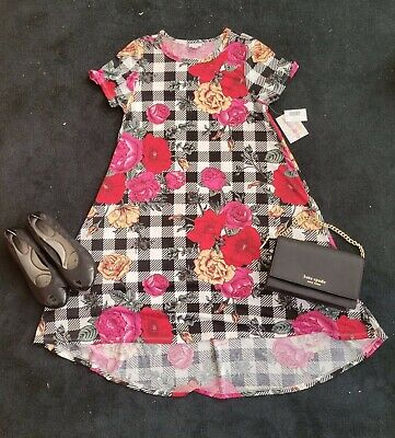$ CDN50.34 • Buy Lularoe Carly Dress NWT Checkered Black White Red Pink Floral Flowers Sz S NWT