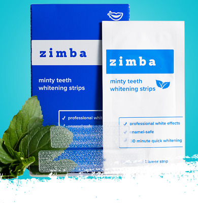 AU46.95 • Buy Zimba Minty Premium Teeth Whitening Strips, Authorised Seller,28 Strips,14 Days