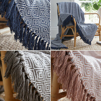 £14.99 • Buy Large & XL Diamond Woven Cotton Traditional Blanket Home Chair Sofa Bed Throws