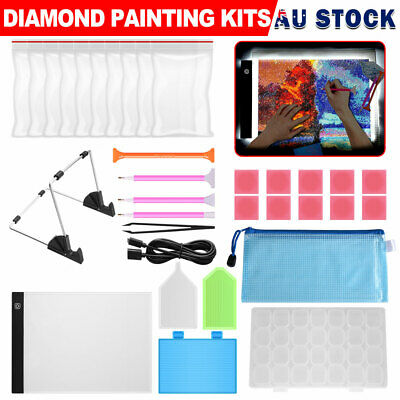 AU23.95 • Buy 5D Diamond Painting Tools LED Pad Light Board With Stand Holder DIY Art Craft AU