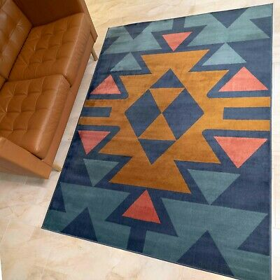 £44.95 • Buy Tribal Aztec Rugs Moroccan South Western Medallion Bold Navy Mexican Style Mats
