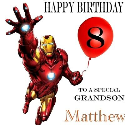£2.95 • Buy Personalised Iron Man Avengers Birthday Card - Any NAME RELATION & AGE