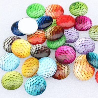 £11.70 • Buy 20mm Random Mixed Fish Scale Peacock Feather Round Glass Cabochon Flatback
