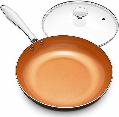 $28.60 • Buy Frying Pan Non Stick 8 Inch Copper Skillet Ceramic Titanium Coating With Lid