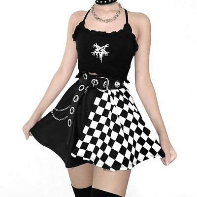 £10.66 • Buy Womens Gothic Skirt Dress Vest Costume Summer Sexy Punk Black Skirt Tops Clothes