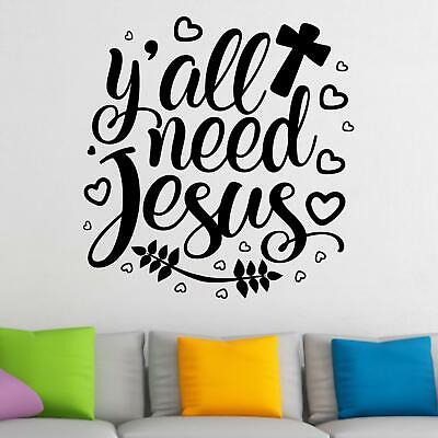 £15.99 • Buy Y'all Need Jesus Wall Sticker Decal  Quote Christian Bible Religious Décor