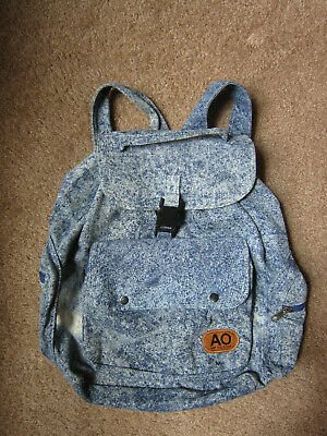 AU32.24 • Buy Vintage 80s 90s Denim Backpack Jeans Acid Wash AO