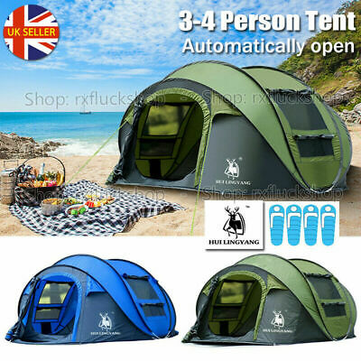 AU129 • Buy 3~4 Person Man Family Tent Instant Pop Up Tent Breathable Outdoor Camping Hiking