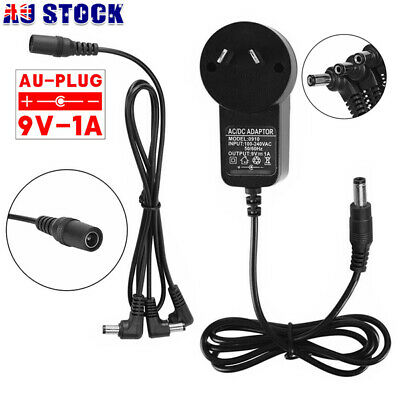 AU16.49 • Buy Guitar Effect Pedal Power Supply Adapter DC 9V 1A + 3 Way Daisy Chain Cable Caps