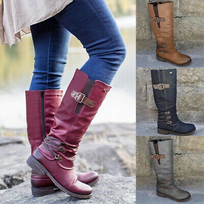 AU40.99 • Buy Womens Ladies Leather Buckles Knee High Biker Riding Low Heel Boots Shoes Sizes