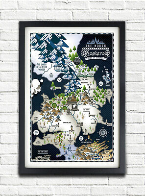 £9.62 • Buy Game Of Thrones - The NORTH - PORTRAIT - Westeros Map - 24x36 Poster