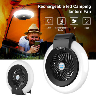 £19.69 • Buy 2 In 1 Camping Tent Lantern Fan Lights USB Rechargeable Portable Hanging Stand