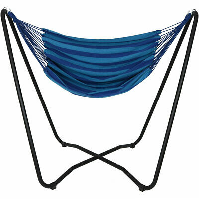 £105.49 • Buy Sunnydaze Hanging Rope Hammock Chair Swing With Space-Saving Stand - Beach Oasis