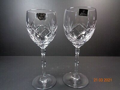 2 Royal Doulton Crystal Daily Mail Large And Small Wine Stem Glasses Beautiful • 12.99£
