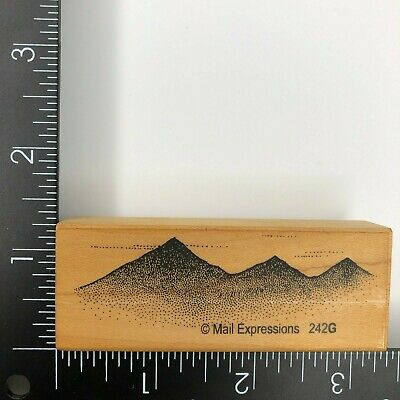 $8.09 • Buy Mail Expressions Mountain Range Landscape Wood Mounted Rubber Stamp 242G