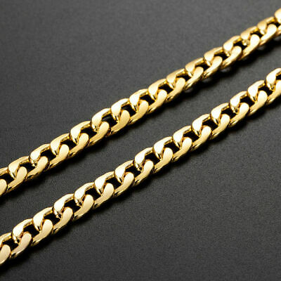 $2.49 • Buy Men Women Stainless Steel 18K Gold Plated Curb Cuban Chain Necklace Jewelry 24