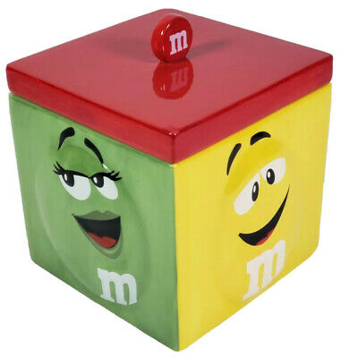 $52.88 • Buy M&m's Square Cookie Jar W/Lid Red Green Blue Yellow Characters RARE, Mars 2009