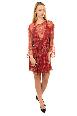 AU19.72 • Buy RRP €440 IRO Mini Dress Size 36 / S Patterned Ruffles 3/4 Sleeve Crew Neck