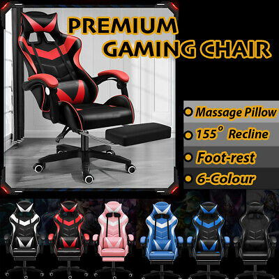 AU112.95 • Buy Gaming Chair Racing Office Seating Computer PU Leather Executive Racer Footrest