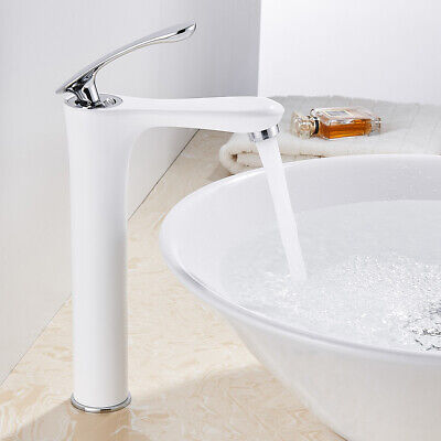 £40.49 • Buy Bathroom Basin Mixer Taps Tall Counter Top Brass White Tap With Chrome Handle `