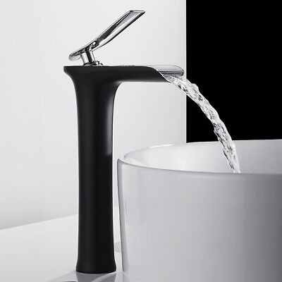 £33.69 • Buy Waterfall Bathroom Basin Mixer Taps Tall Counter Top Brass Faucets  Black Tap `