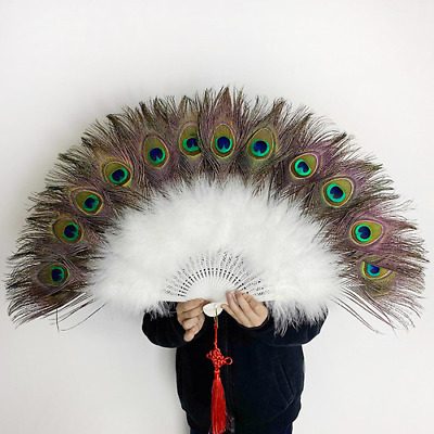 £31.12 • Buy 2021 Chinese Feather Fan Peacock Folding Hand Fan Wedding Party Cosplay
