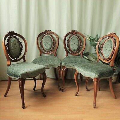 £152 • Buy Set Of 4 French Style  Upholstered Vintage Walnut Ornate Dining Chairs