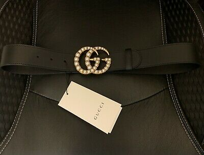 AU300.01 • Buy Gucci Black Leather Belt - Pearl Double G Buckle - SZ80