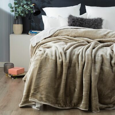 $ CDN62.75 • Buy Renee Taylor Mink Blanket Winter Warm Soft Thick Queen 750GSM Taupe