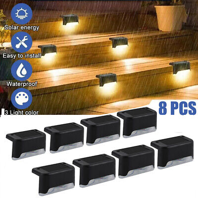 £11.99 • Buy 8 Outdoor Solar LED Deck Lights Path Garden Patio Pathway Stairs Step Fence Lamp