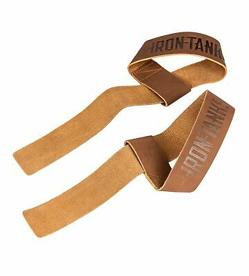 £26.43 • Buy Iron Tanks Heavy Leather Weightlifting Straps Tan | Gym Workout Deadlift