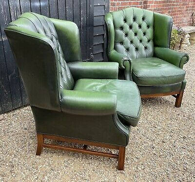 £245 • Buy Pair Of Bottle Green Leather Wing Back Armchairs With Button Backs