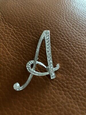 £3.25 • Buy Letter A Brooch Diamontes Silver Tone Brand New From UK
