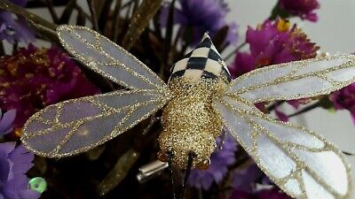 $19.99 • Buy Mackenzie Childs  Retired Courtly Check Bumble Bee Clips Ornament New